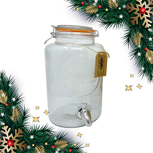 5 Litre Drinks Dispenser with Steel Spigot, wire mesh (to stop blockages) and gift tag, it's the Ultimate Drinks cooler - By Smith's Mason Jars
