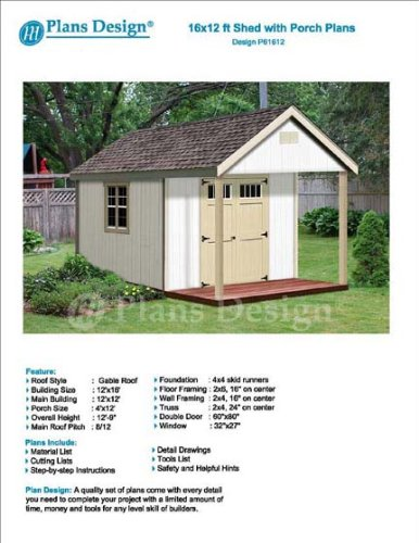 16' x 12' Cabin Loft Utility Shed with Porch Plans for sale  Delivered anywhere in USA