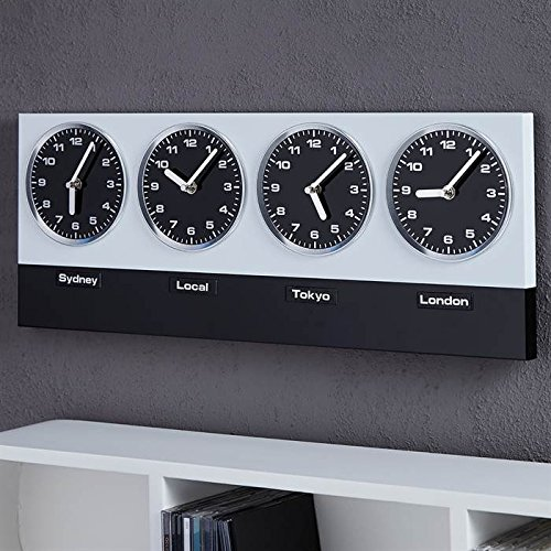 GLOBAL-Orologio da parete in stile moderno, con 4 orologi, Xtradefactory, in argento, colore: nero XTRADEFACTORY GMBH