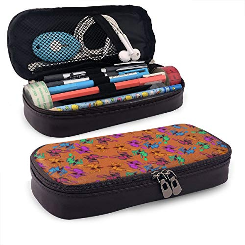 Happy Halloween Witch Pattern Pencil Case Large Capacity Pen Bag Makeup Cosmetic Bag Pencil Pouch Double Zipper Multi-Compartment School Office -
