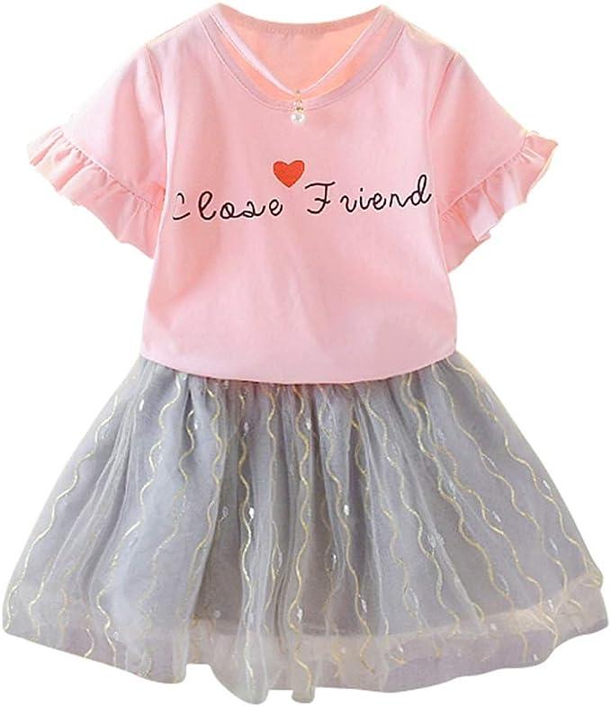 Falda y Camisa de niña pequeña Conjunto de Top con Gasa Vestido ...