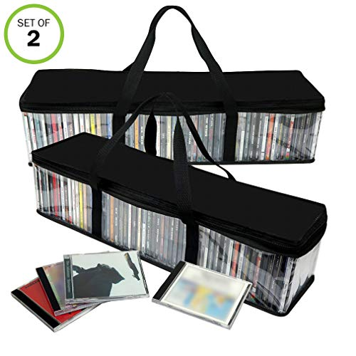 - Evelots CD Storage Bag-Zippered-Clear-Handles-Hold 100 CD's Total-Black Top-Set/2