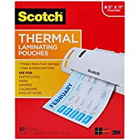 Scotch(TM) Thermal Laminating Pouches, 8.9 Inches x 11.4 Inches, 40 Pouches