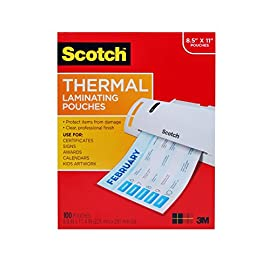 Scotch-Thermal-Laminating-Pouches-89-x-114-Inches-3-mil-100-Pack-TP3854-100