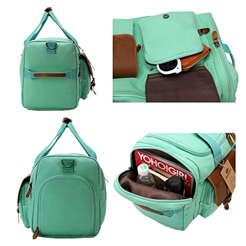 BLUBOON Weekender Duffle Bag Canvas Overnight Travel Duffel with Shoe Compartment for Women Leather Carry on Luggage Travel Tote Bag (Mint Green) by BLUBOON (Image #5)