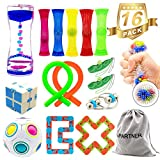 H-Partner 16 Pack Relieves Stress and Increase Focus Bundle Sensory Toys-Fidget Chain/Infinity Magic Cube/Liquid Motion Timer/Stress Relief Ball/Rainbow Magic Ball Cube/Squeeze Bean Toys for ADD ADHD