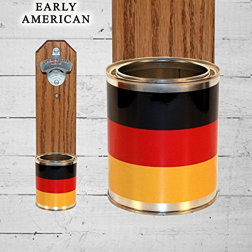 German Wall Mounted Bottle Opener with Germany Flag Tin Can Cap Catche ()