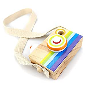 LIKIQ Wooden Camera Toy with Neck Strap,Kaleidoscope Lens Camera for Baby Toddlers Children,Educational Science Developmental Toy Gift