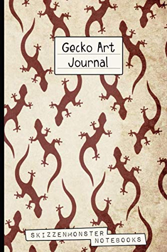 Gecko Art Journal: Funky Gecko-lovers Notebook   120 Dot-Grid and Blank Pages for Stress Relief Doodling & Notes