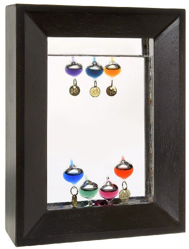 Lily's Home 7'' Rectangle Wood Frame Galileo Thermometer with 7 Multi Color Floats and Gold Temperature Tags by Lilyshome