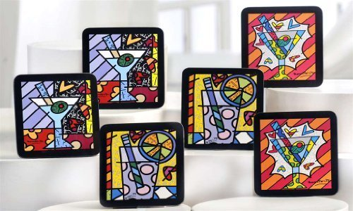 New Romero Britto Coasters Cocktail Martini Set of 6 Beer Drinks Party Gift Home by Romero Britto