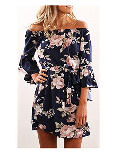 SRYS Women's Off Shoulder Tunic Sleeve Loose Casual Print Midi Dress (S, Printing (Valentine Ball Dresses)