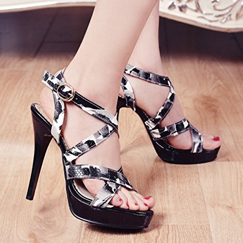 TAOFFEN Women Elegant Platform Open Toe Stiletto Sandals Criss Cross Shoes Black T0vbbTJ1