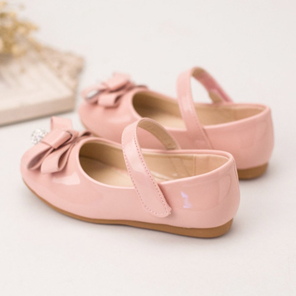 T-JULY Shiny Bowknot Toddler Mary Jane Shoes Girls Non-Slip Breathable Rhinestone Dress Shoes with Strap