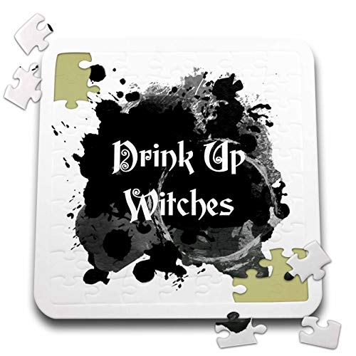 3dRose InspirationzStore - Occasions - Drink Up Witches - Witch Brew Halloween Witchs Potion Black Ink Splat - 10x10 Inch Puzzle (pzl_317318_2) -