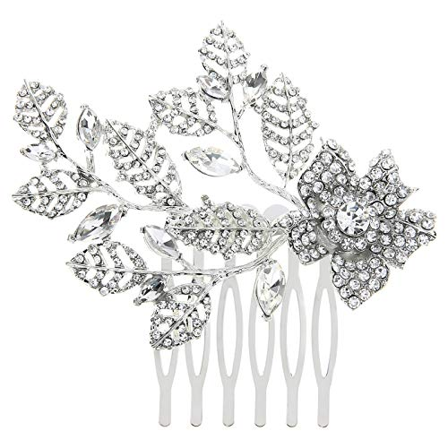 HDE Bridal Hair Comb Accessories Vintage Silver Wedding Hair Piece Flower Leaves Pave ()