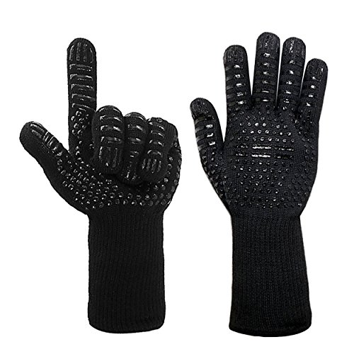 Yuengs Oven Mitts - Extra Long Professional Heat Resistant (Up to 932℉) Anti-Cutting Kitchen Gloves for Cooking, Baking, BBQ, Grilling - Anti-Slip Oven Gloves for Kitchen & Industrial (1 Pair, Black) by Yuengs
