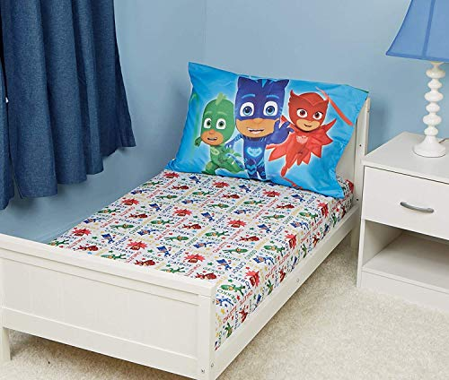 EVERYDAY KIDS PJ Masks Toddler Fitted Sheet and Pillow Case Set - Fits Toddler Bed