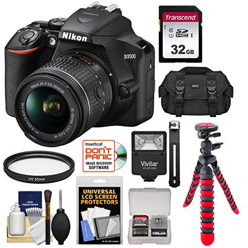 Nikon D3500 Digital SLR Camera & 18-55mm VR DX AF-P Lens with 32GB Card + Case + Tripod + Flash + ()