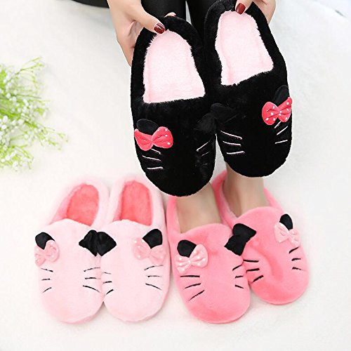 Female Cat Couples Eastlion Fashion Plush Warm Slippers Cartoon Home Red Slippers Unisex Indoor ZP5xg5Twnq