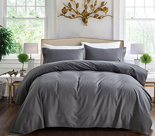 1800 Series Egyptian Collection 3 Line Microfiber 4 Piece Bed Sheet Set (King, Grey)