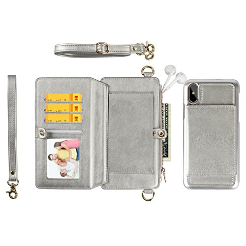KelaSip iPhone Xs Max case(Silver)Women Hand Rope and Shoulder Rope Leather Zipper Wallet Case Card/Cash Slot with Detachable