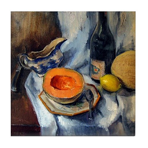 CafePress - Blue Willow and Cantaloupe Art Tile (Full Bleed) - Tile Coaster, Drink Coaster, Small Trivet