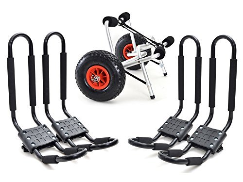 2 Set Roof J rack Kayak Boat Canoe Car SUV top Mount Carrier with 1 Dolly Cart Trailer Carrier Wheels by GSG