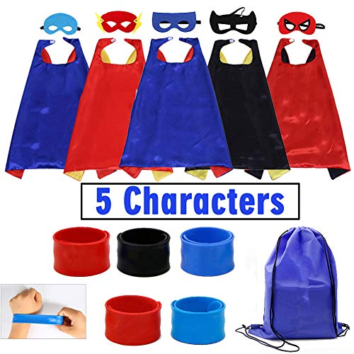 Kids Cartoon Dress up Costumes Boys Satin Superhero Capes and Masks 5 Characters with Slap Bracelets for Cosplay Party Game Toys -