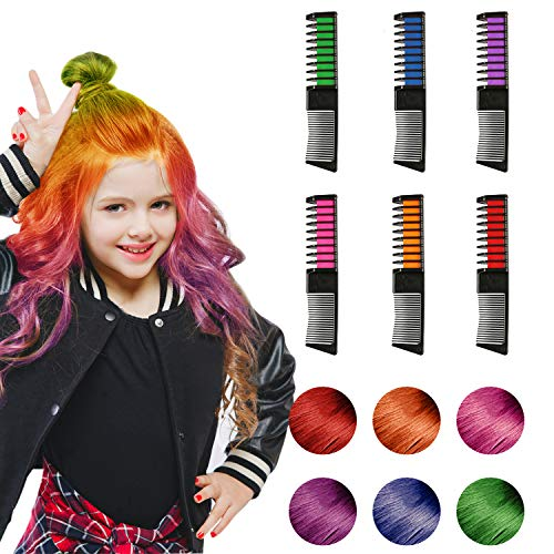 Dark Red Hair Spray (Hair Chalk, 6 Color Hair Chalk Comb Set Non-toxic Washable Temporary Hair Dye for Kids Women Best Birthday Christmas Cosplay New Year Gifts for Girls Boys(2019 Upgrade)