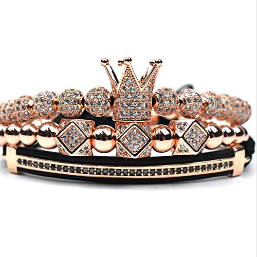- Imperial Crown King 18 K Gold Beads Bracelet Luxury Charm Fashion Jewelry (Rose Gold)