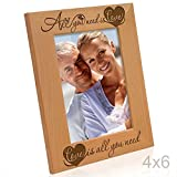Kate Posh - All You Need is Love, Love is All You Need - Engraved Natural Solid Wood Picture Frame and Wall Decor (4x6 Vertical)