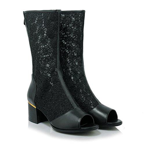 Calf Summer High AIWEIYi Chunky Boots Black Mid Boots Heel Womens Boots Riding qxCwpAREnf