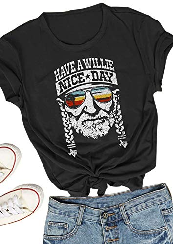 Tee Spring Graphic - KIDDAD Women's Have a Willie Nice Day Letter Print Graphic T-Shirt Short Sleeve Sunset Shades O-Neck Casual Tee Tops Size M (Black)