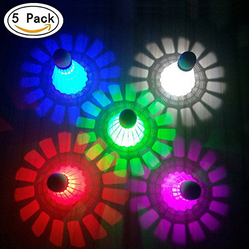 ZHENAN LED Badminton Shuttlecocks Dark Night Glow Birdies Lighting For Outdoor & Indoor Sports Activities (Nylon_5pcs)