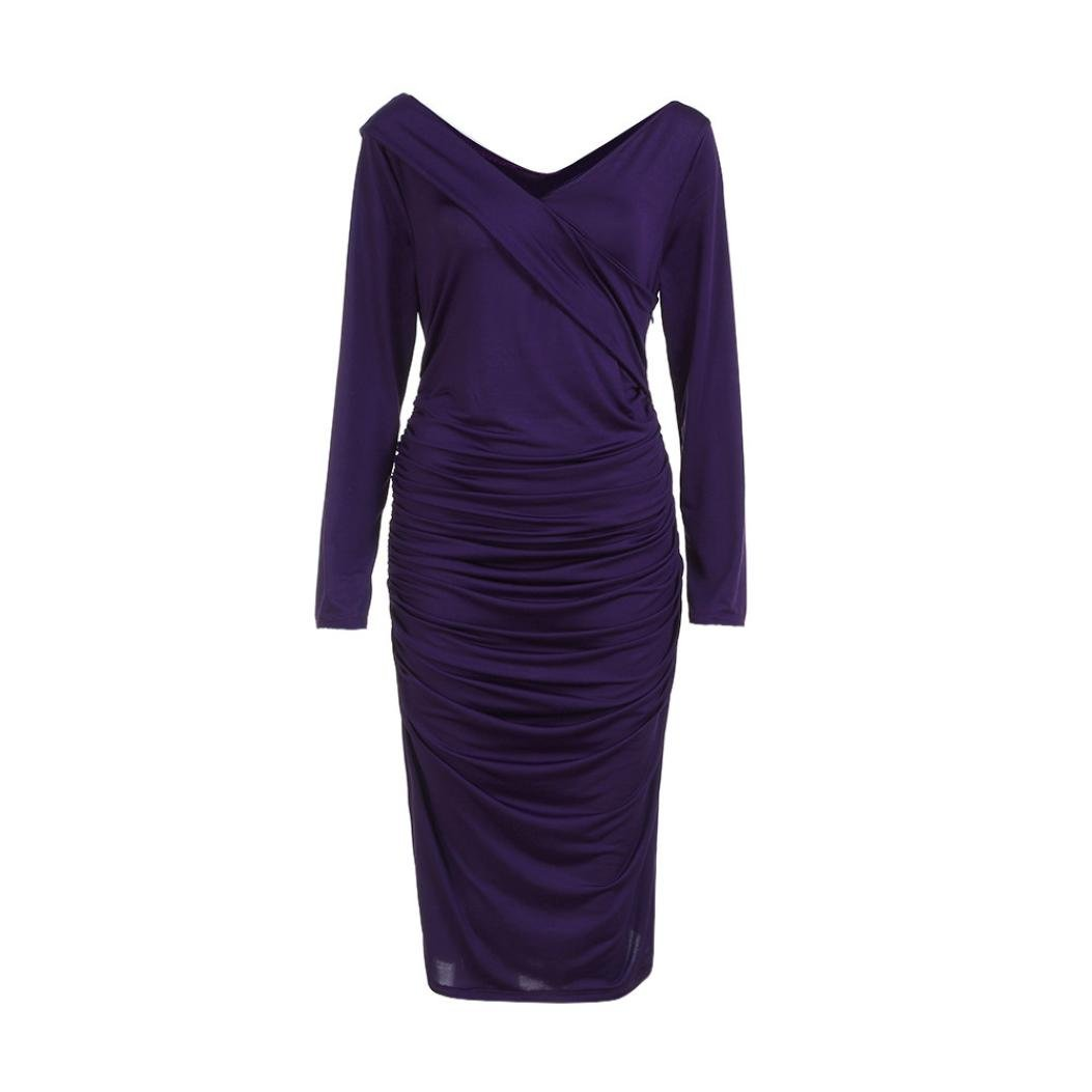 Women's Sexy Long Sleeve Soft Slim Bodycon Evening Party Skirt Sweater Dress (Purple, S)