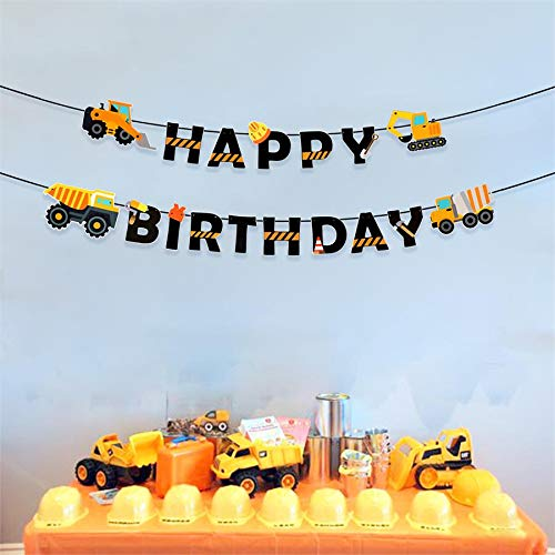 Construction Birthday Banner Dump Truck Party Decorations Pre Assembled Builder Bulldozer Excavator Tank Garland
