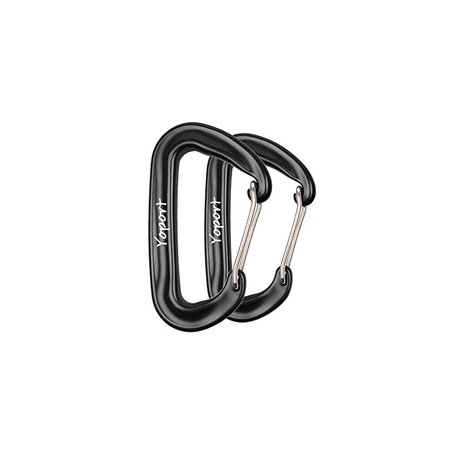 Yoport Camping Hammock Carabiner 12 KN Snag Free 2 Pack / 4 Pack Wiregate Carabiners Biners Rated 2,697 Pounds for Hammocks, Camping, Backpacking, Home, Rv, Fishing, Hiking, Traveling