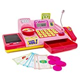 Boley Kids Toy Cash Register - Pretend Play Educational Toy Cash Register with Electronic Sounds, Play Money, Grocery Toys, and More! (Pink)