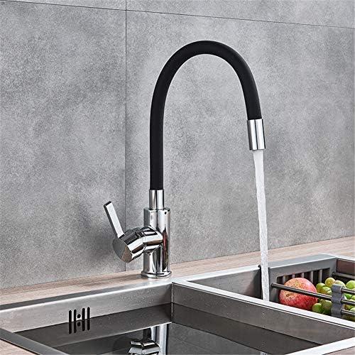クローム真鍮黒キッチンシンクの蛇口柔軟なゴム熱い冷水ミキサータップ回転キッチンタップ