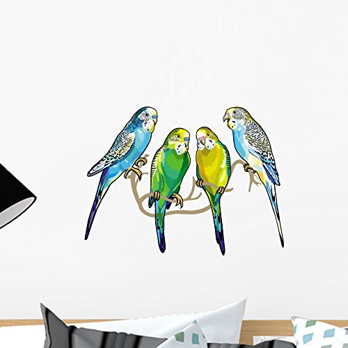 Wallmonkeys Four Budgy Parakeets Wall Decal Peel and Stick Animal Graphics (18 in W x 14 in H) WM371169