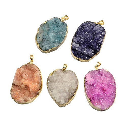 Pandahall 5PCS Dyed Plated Natural Druzy Agate Oval Pendants for Jewelry Making (Oval)