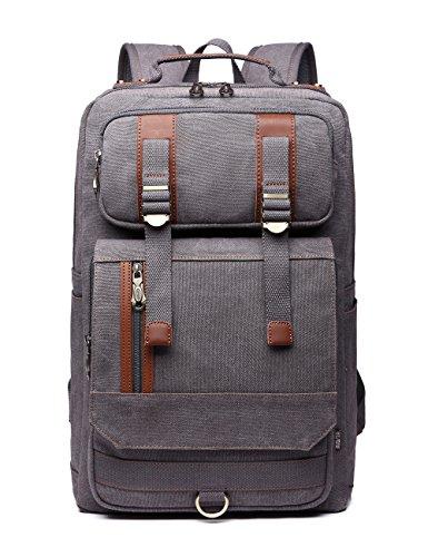 BEFAiR Men's Canvas Vintage Backpack Weekender Bag Laptop Backpack Casual Bag School Daypack (Grey3)