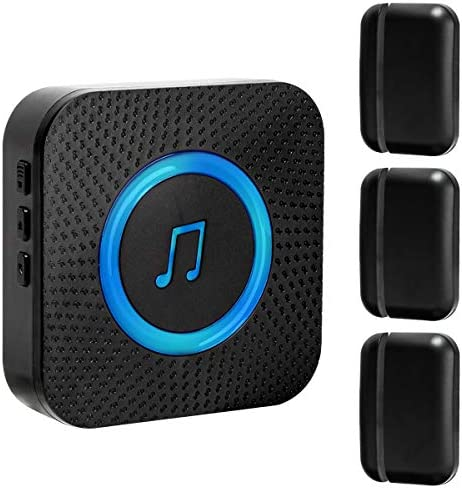 Black Door Chime for Business Office Home Store,Door Sensor Entry Alert52 Ringtones 4 Volume Level