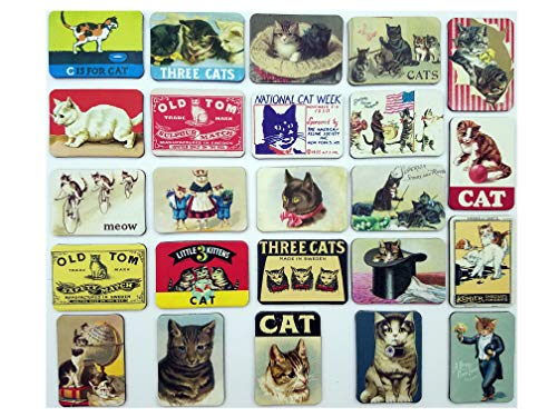 - Cat Fridge Magnets Refrigerator Magnet Magnetic Souvenirs Mini Small Vintage Retro for Stainless Steel Board Kitchen car Office Set of 24