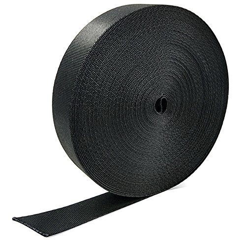 Marsway Nylon Webbing Strap 20 yard x 1 inch (Length x Width), 0.04 inch Thickness Black Flat Heavy Fastening Strap for Bags, Slings, Belts, Outdoor Equipments, Clothes and Accessories