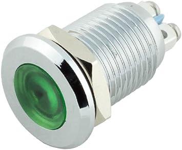 Durable 12mm Pilot Dash Light Lamp Green Led Indicator w// Screw Terminal Black