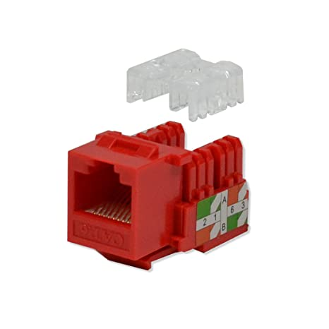 5x Pack Lot CAT6 Network RJ45 Port 110 Punch Down Keystone Snap-In Jack Red