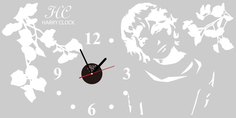 HARRY ART CLOCK ウォールステッカー 時計付き 貼ってはがせる 転写式 (ビッグサイズ) 枝葉と女性(Sense of wonder) ホワイト 45×90cm B00OXPI6JK ホワイト ホワイト