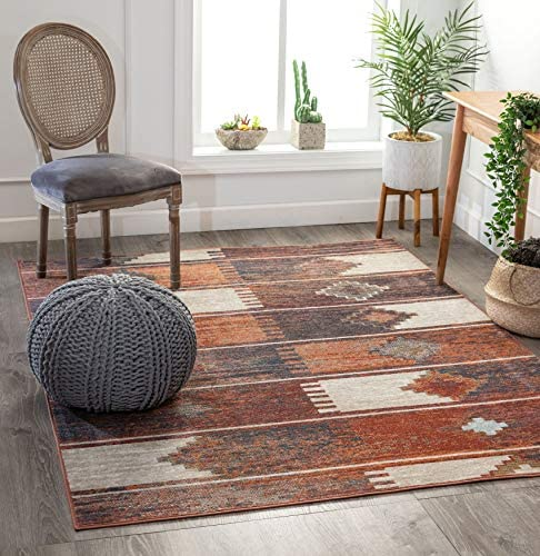 Well Woven Antonio Burnt Orange Tribal Patchwork Pattern Area Rug 5×7 5 3 x 7 3